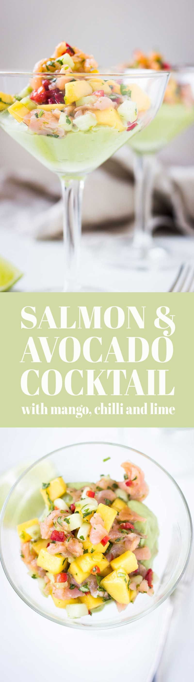 Cold smoked salmon and avocado cocktail with mango, lime