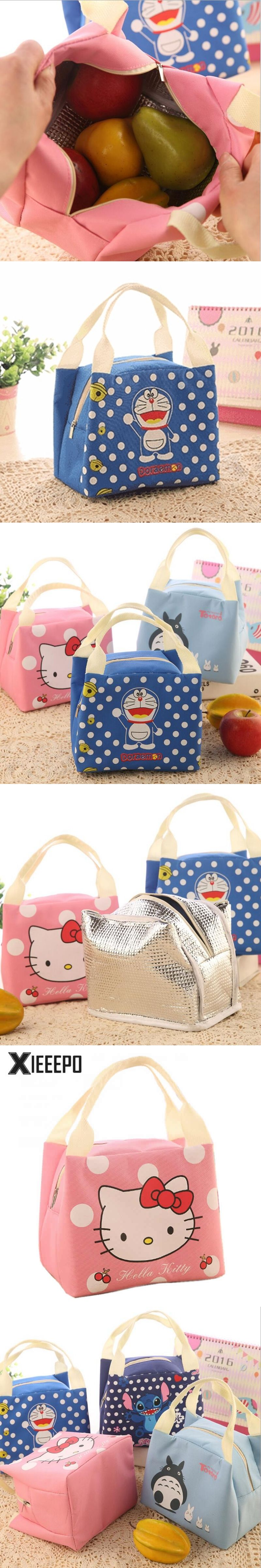 Portable Lunch Bag Cartoon Hello Kitty Insulated Cooler Bags Thermal Food  Picnic Lunch Bags Women Kids 3bbd9ada47d07