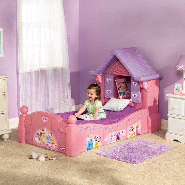 Feminine Disney Princess Girl Toddler Bed Offers Solid Plastic