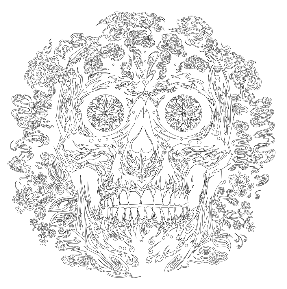 skull outlines sugar skull tattoo pics pinterest adult coloring and craft
