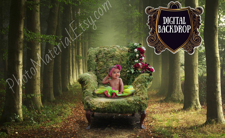 NEW Newborn Kids Fantasy Digital backgrounds Studio Photoshop Templates Green