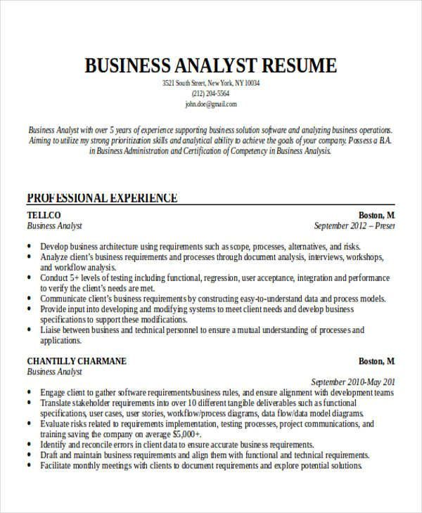 Entry Level Business Analyst Resume resume examples Pinterest - example of business analyst resume