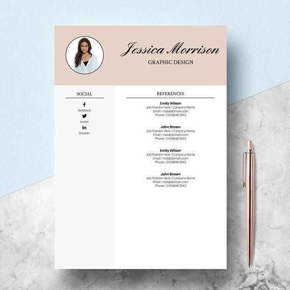 Resume Template, CV Template for Word, Two Page Resume \ Cover - references on a resume template