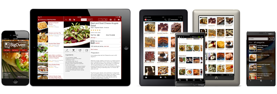 BigOven's free recipe apps are available for iPhone