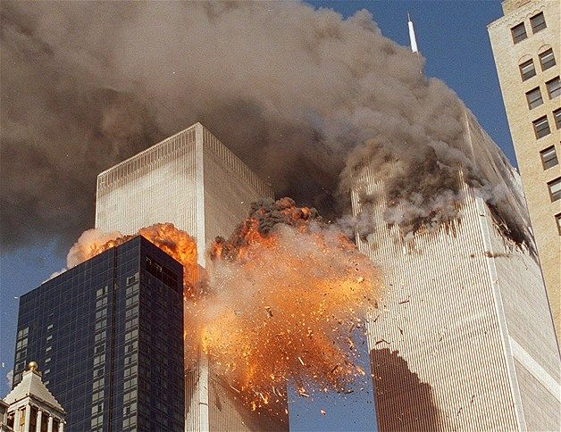 Fuel onboard United Flight 175 explodes in a horrific fireball just after the plane hits the south tower of the World Trade Center on Sept. 11, 2001. Fires ignited by the two crashes would later cause the twin towers to collapse.