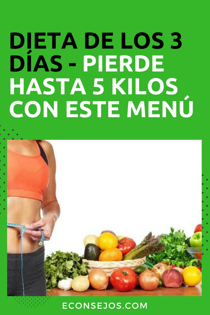 dieta de los 5 dias para bajar 3 kilos