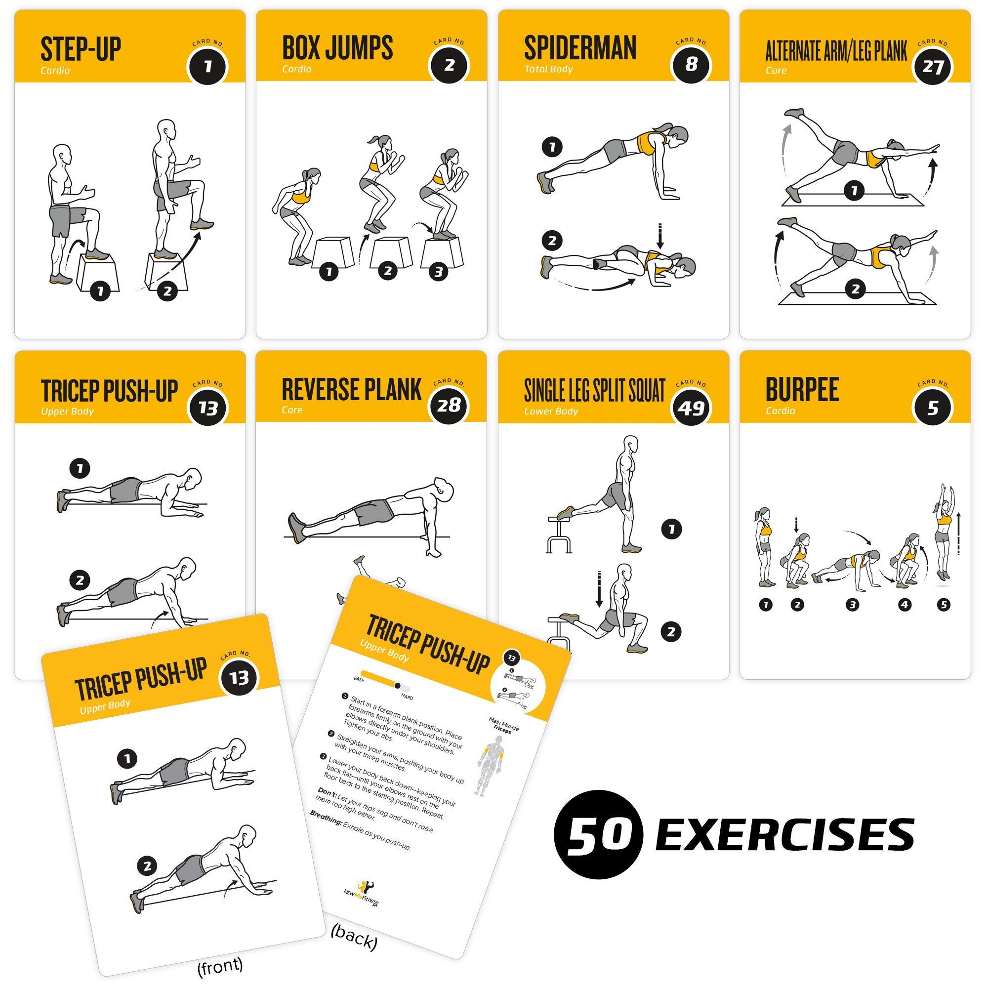 Exercise Cards Bodyweight Home Gym Workout Personal Trainer Fitness Program Guide Tones Core Ab Legs Glut Card Workout Calisthenics Training Glute Workout Gym