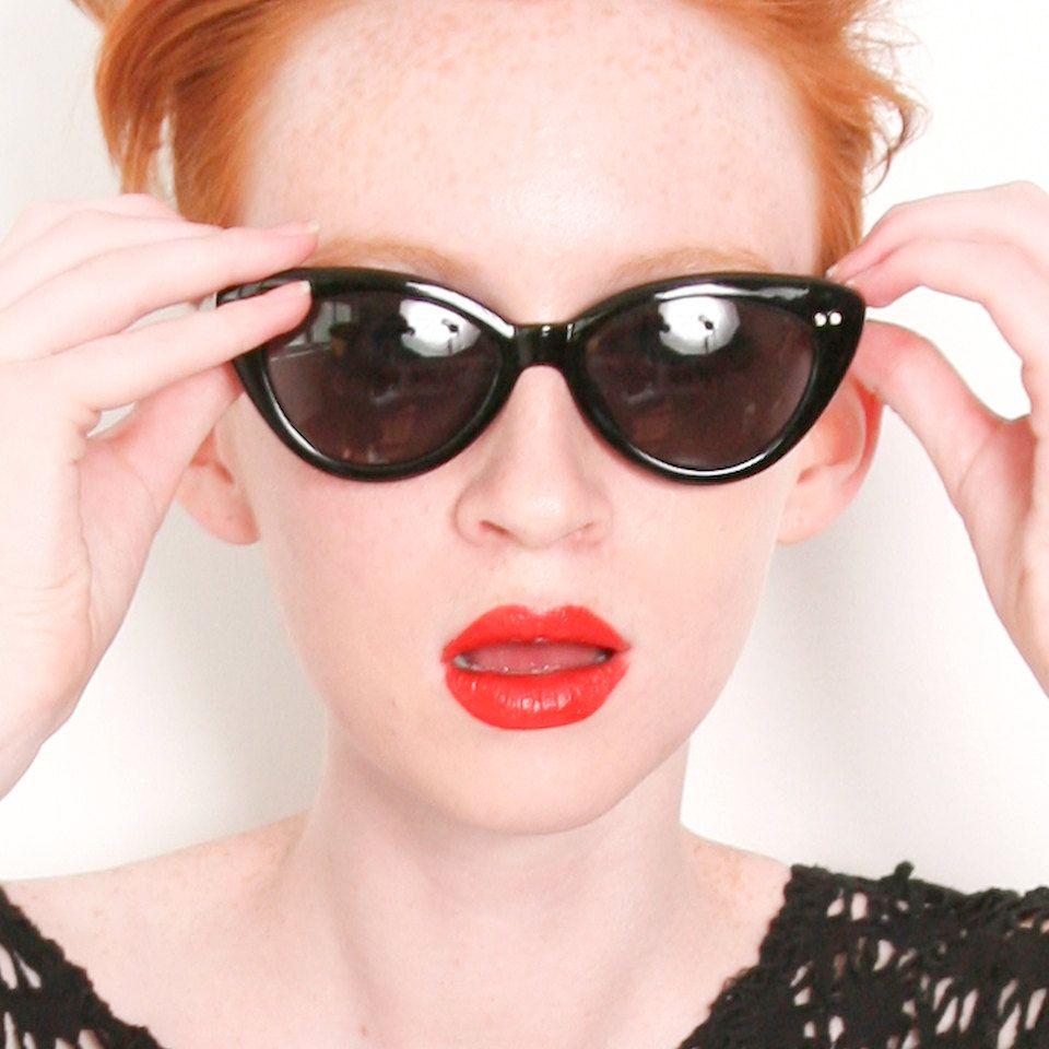 Black Womens Cat Eye Frame Nina Sunglasses / Free Ship USA. $16.00, via Etsy.