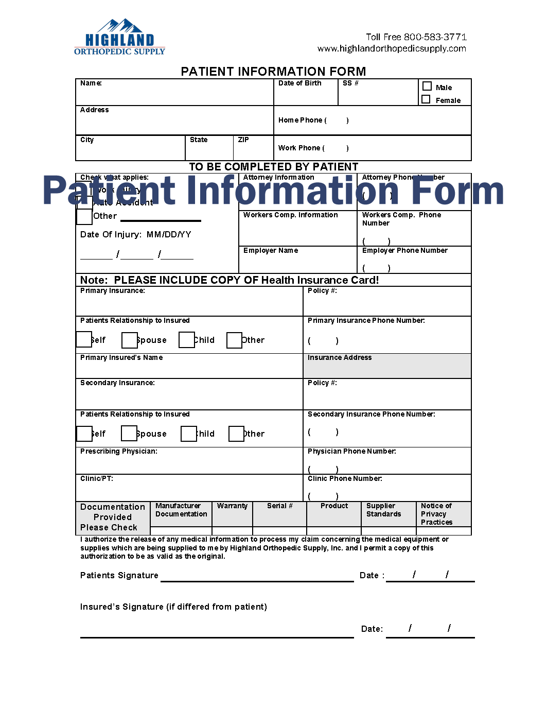 Patient Information Form Patient Insurance Info Hos  Acupuncture