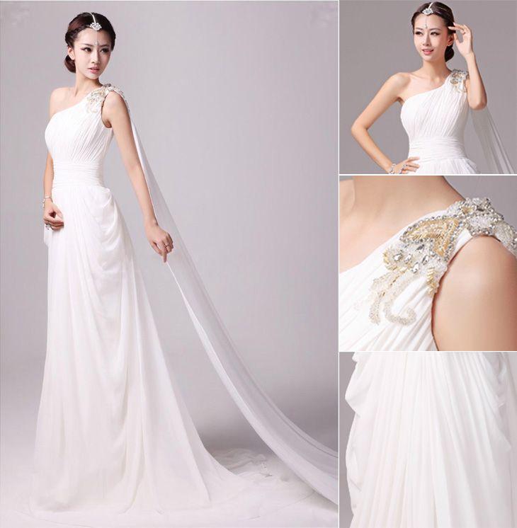 Greek Goddess Wedding Dress: Elegant Greek Goddess Chiffon Beaded One Shoulder Wedding