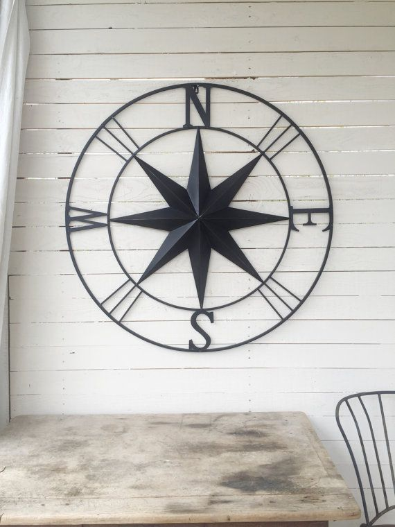 Metal Compass Nautical Wall Art Nautical Decor By Camillacotton