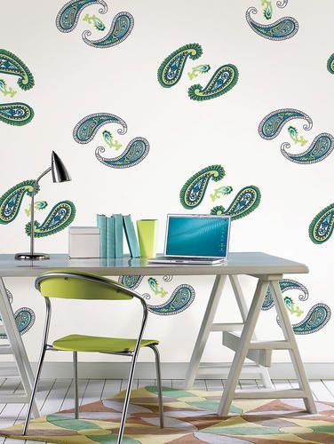 Paisley Please Blue Green Dot Wall Decal 15 04 Menards Paisley Wallpaper Home Decor Flat Ideas