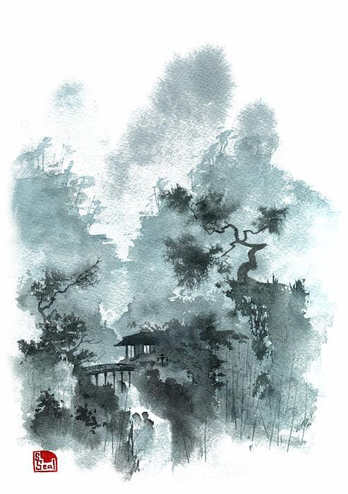 Temple Bridge Chinese Landscape Painting Chinese Landscape