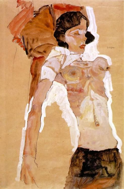 Semi-Nude Girl, Reclining by Egon Schiele 1911