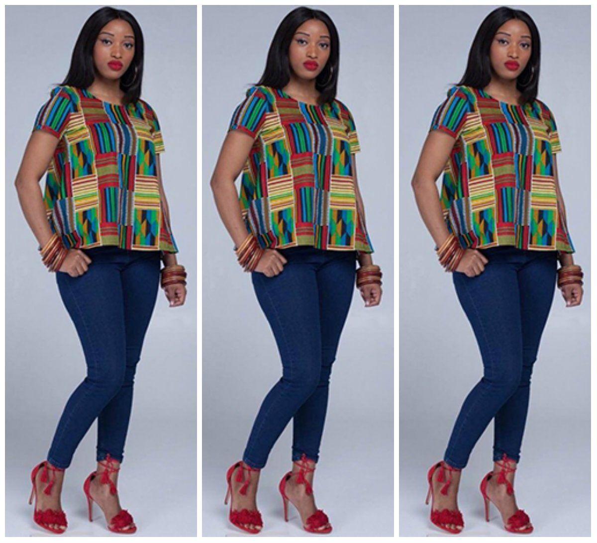 30 Stylish And Trendy Ankara Tops To Wear With Jeans - AfroCosmopolitan |  African print tops, Ankara tops, Ankara tops blouses