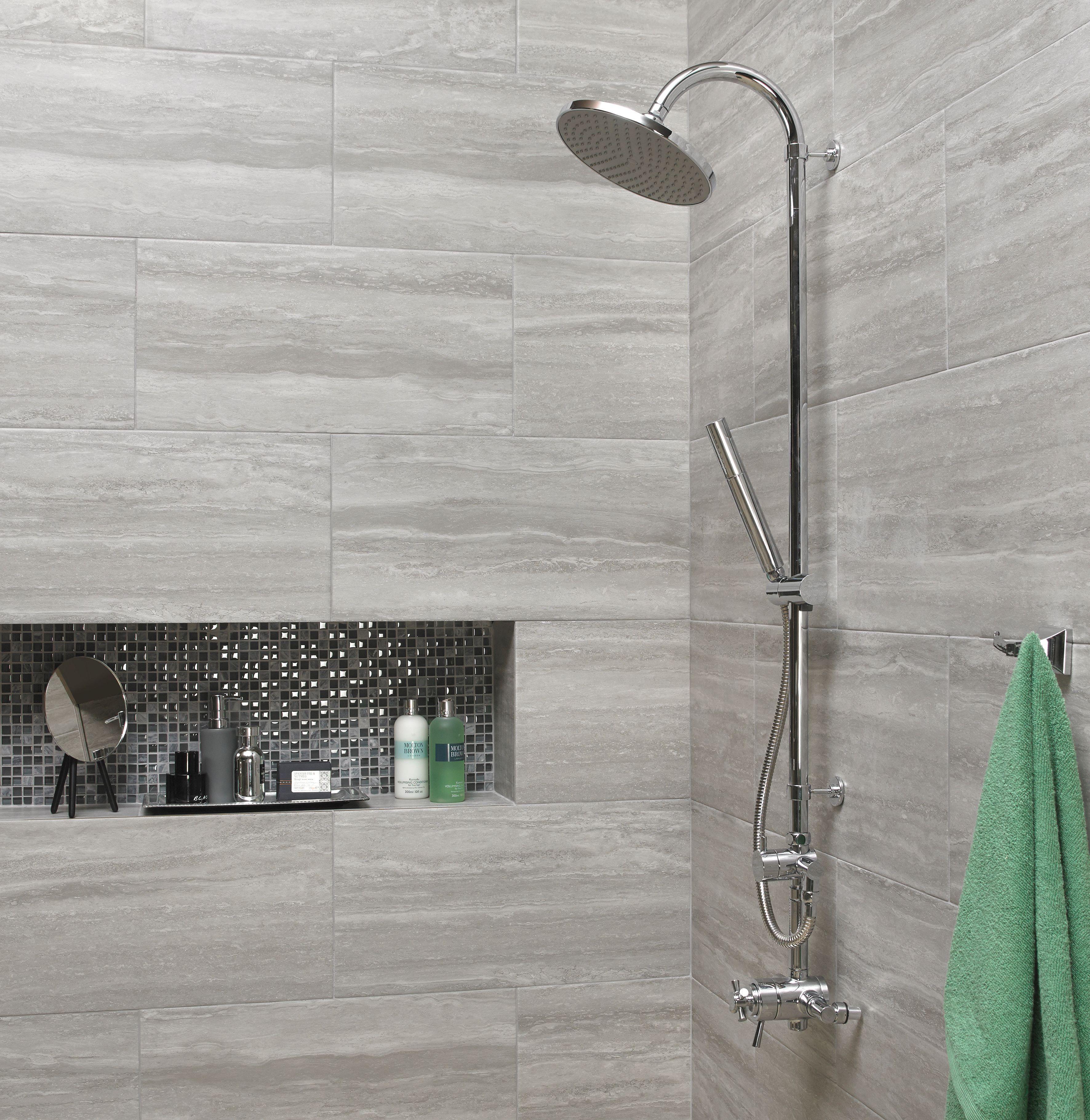 Wickes Everest Stone Porcelain Tile 600 X 300mm Wickes Co Uk Light Grey Bathrooms Grey Wall Tiles Bathroom Wall Tile