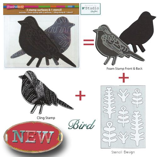 n*Studio - Bird Foam Stamp, Cling Rubber, and Stencil Set This 3 piece set includes a double-sided foam bird stamp, a cling bird stamp, and a patterned stencil. This set can be used to create a variety of stamping and stenciling effects in your creative, mixed media designs.