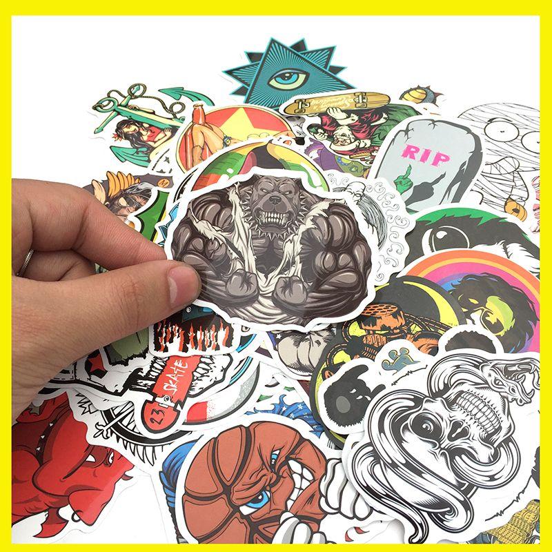 100 PCS / Pack Random music film Vinyl Skateboard Guitar Travel Case sticker Car decal Cute Stickers fashion funny sticker