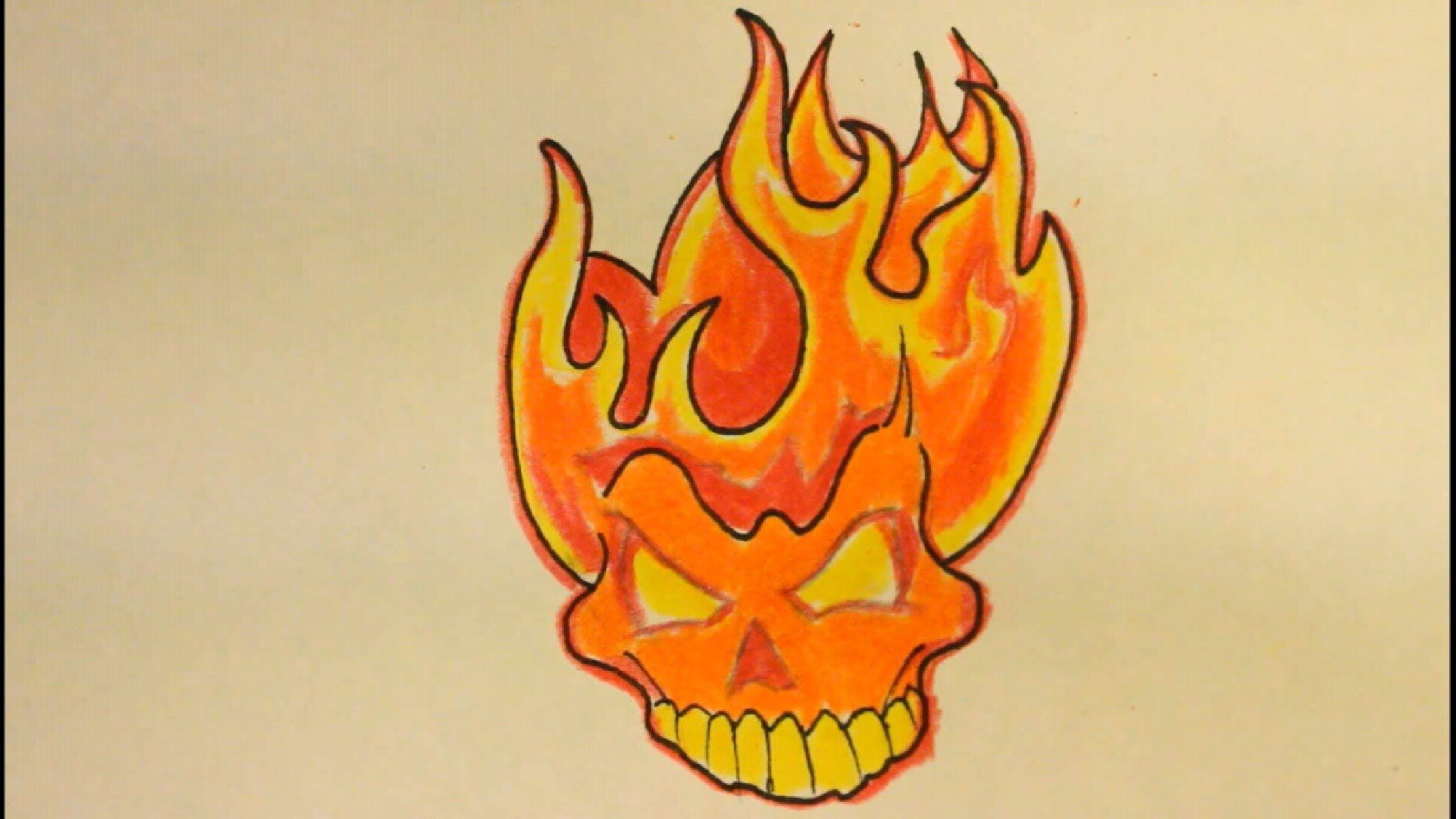 How To Draw A Skull On Fire With Flames Easy For Beginners Fire Drawing Skulls Drawing Drawings