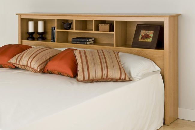 King Size Bed With Bookcase Headboards And There Are Many Pillow