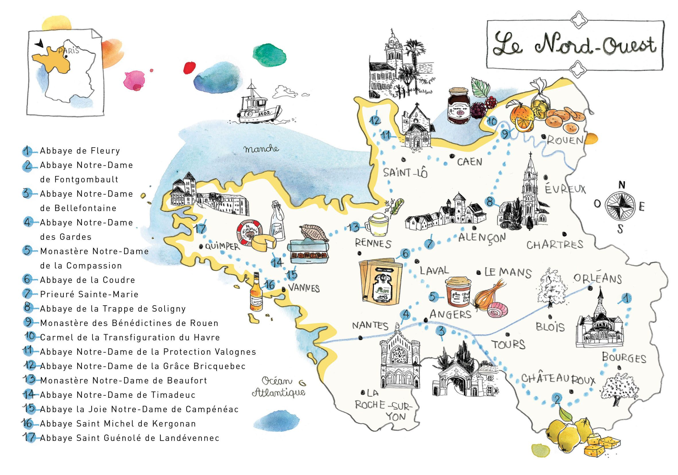 Map Of Northwest France.Guide Des Abbayes Caroline Donadieu North West France Map City