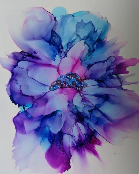 Show Your Bloomers #aiJune18 Alcohol Ink Art Challenge - Alcohol Ink Art #alcoholinkcrafts