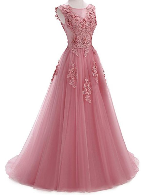 Custom 2018 Formal Pink Lace A-line Long Evening Prom Dresses b926006849a8