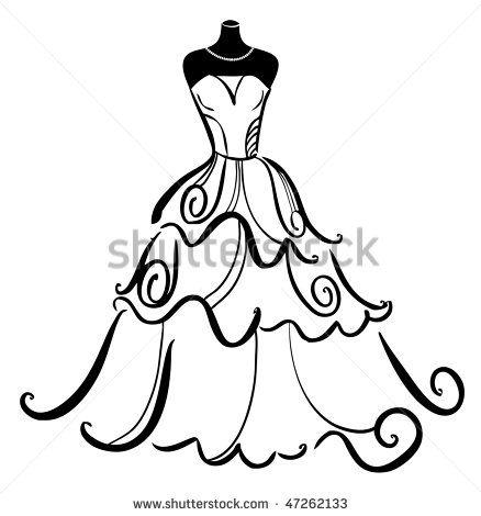 dressform+silhouette   wedding dress outline clip art   Zentangle ...