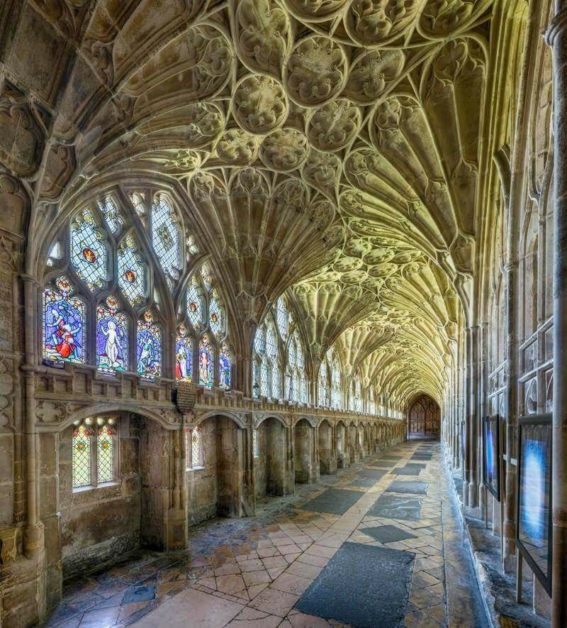 The Cloister Of Gloucester Cathedral In Gloucestershire Featured In Several Harry Potter Movies Britainandbriti Gloucester Cathedral Cathedral The Cloisters
