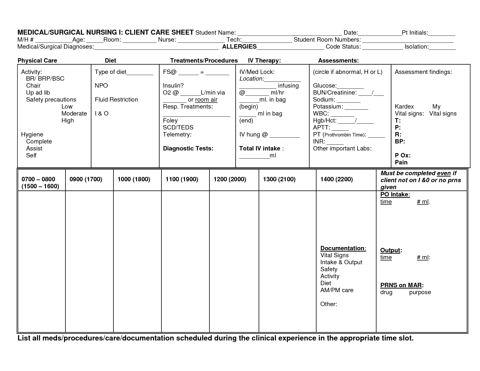 Nursing Report Sheets For Student Nurses