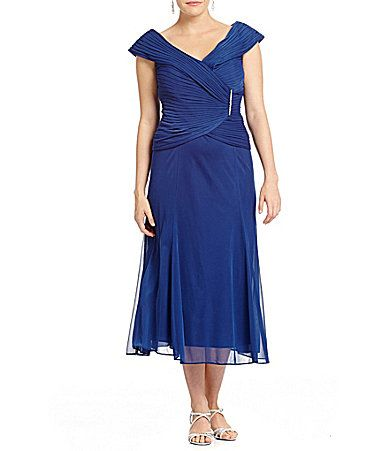 Alex Evenings Plus PortraitCollar Mesh Dress #Dillards | janet stuff ...