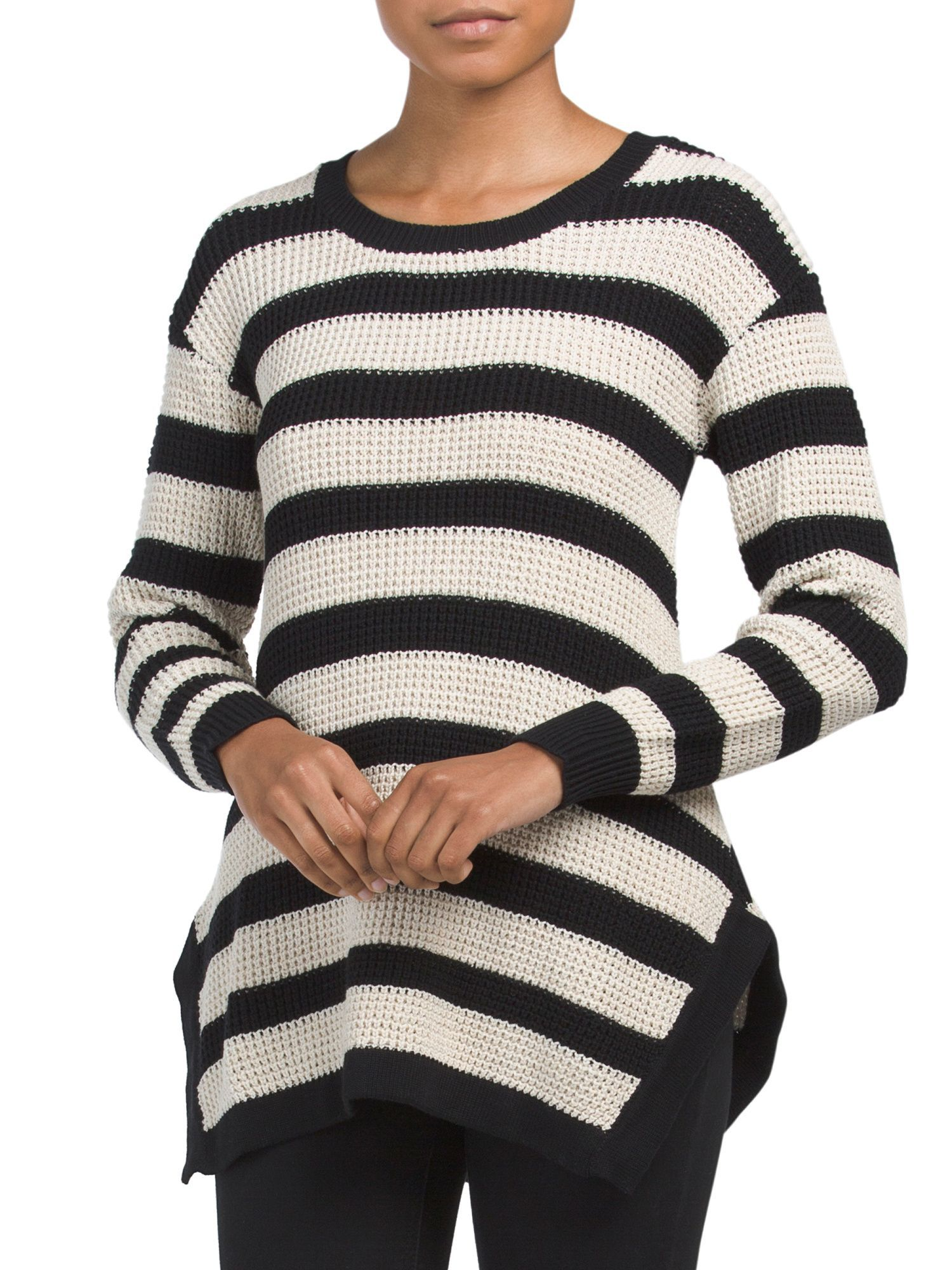 8cdf108a7bc Honeycomb Striped Sweater | Products | Sweaters, Pullover, Long ...