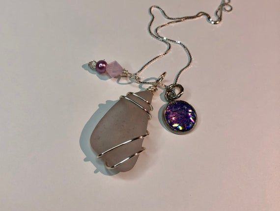 Photo of Sea Glass Necklace – Beach Glass Jewelry – Lavender Cluster Mermaid's Treasure