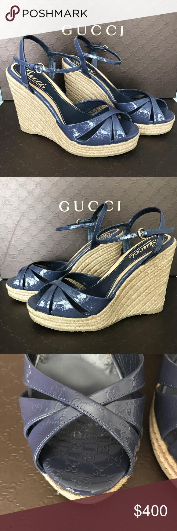 9737c7294ab6 New Gucci Penelope wedge New in box. Women s GUCCI Penelope Strappy Espadrille  Wedge Sandal GG MICROGUCCISSIMA LOGO WEDGES. Patent Leather. color  Uniform  ...