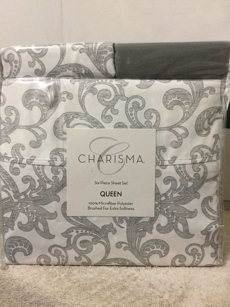 Charisma Queen 6 Piece Sheet Set 100 Microfiber Polyester Lyrical Gray Charisma Grey Sheets Sheet Sets Queen Geometric