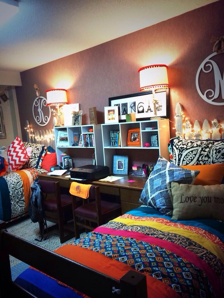 Dorm Room Layouts: Coordinated And Colorful College Dorm Room