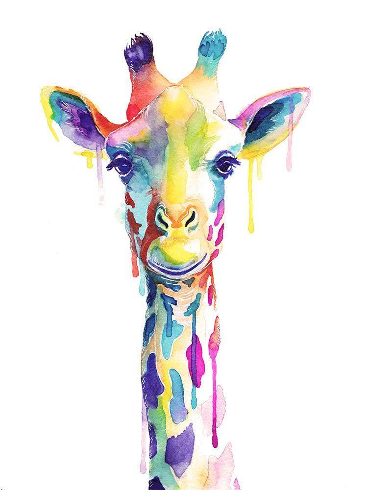 Impression aquarelle de girafe coloree - Animaux sauvages - Art mural - Couleur - Kawaii -  Art mu