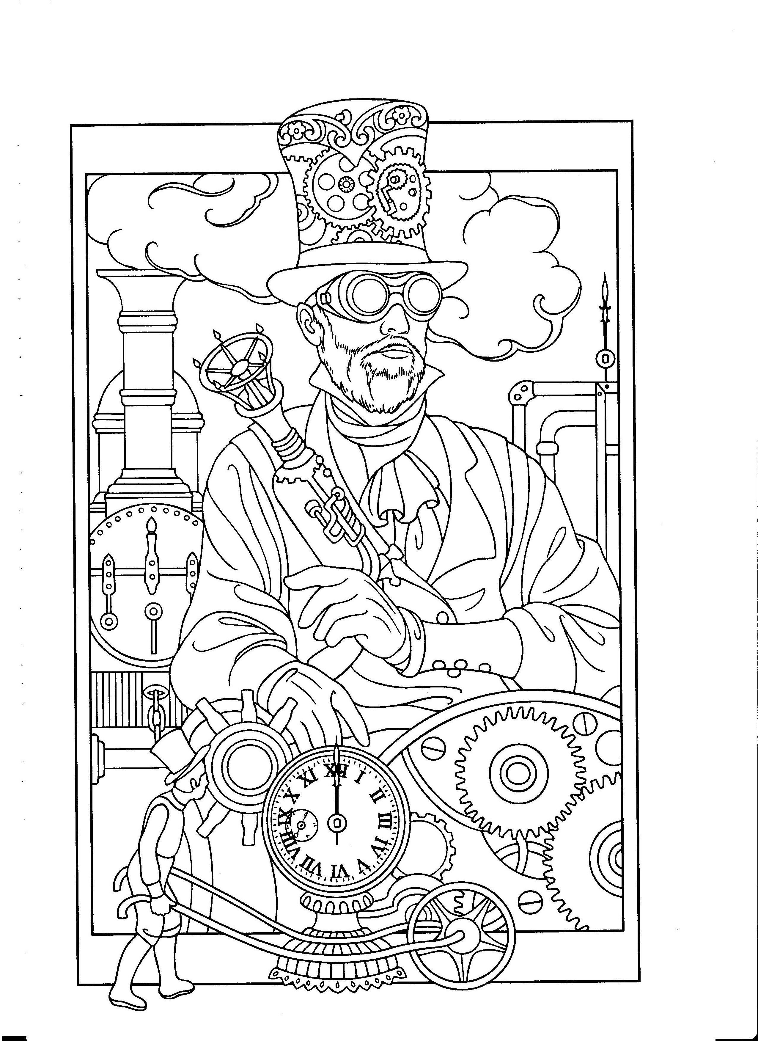 Steampunk Coloring Steampunk Style Adult Coloring