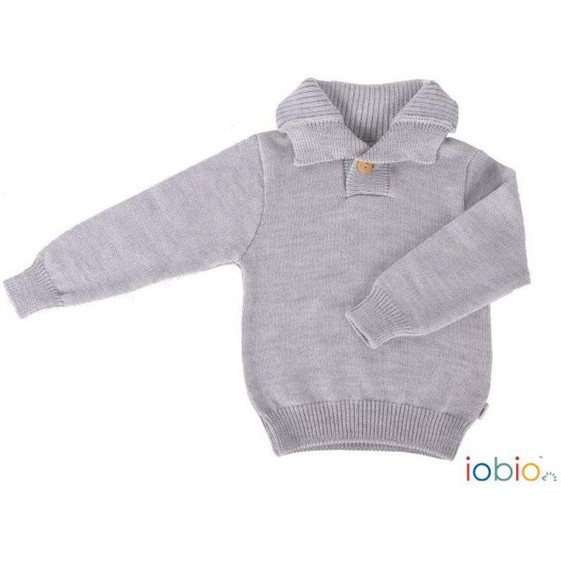 iobio Kinder Troyer Pullover Wolle Gestrickt Grau 8692 110