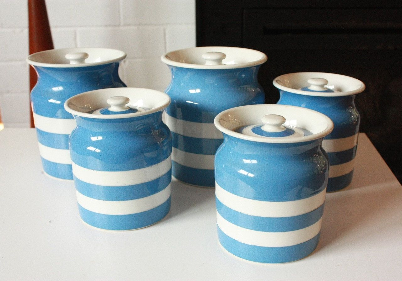 TG Green and Co CornishWare Canisters Set Of Five Blue and White by ...