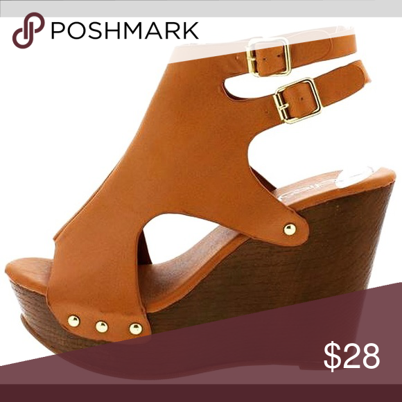 e04ef980214 TAN STUD DOUBLE STRAP WOOD PLATFORM WEDGE The wedge that will keep you  going week after
