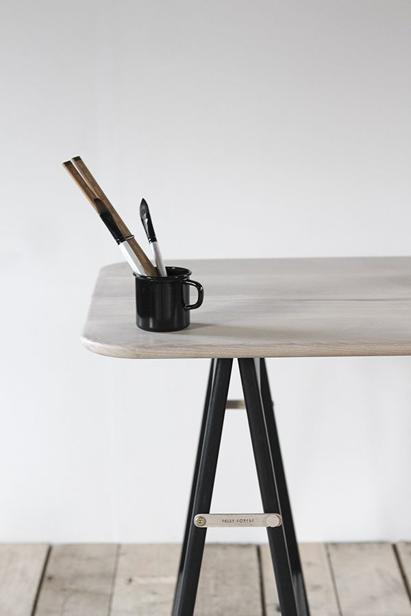 The Ashling trestle designed by Feist Forest and made in the UK | workspace trestle desk | black trestle legs