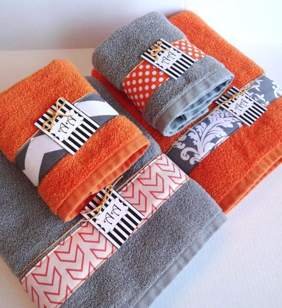 Set Of 4 Bath Towels Gray And Orange Grey And Orange By Augustave 86 00 Hotel Collection Towels Orange Bathroom Decor Gray Towels