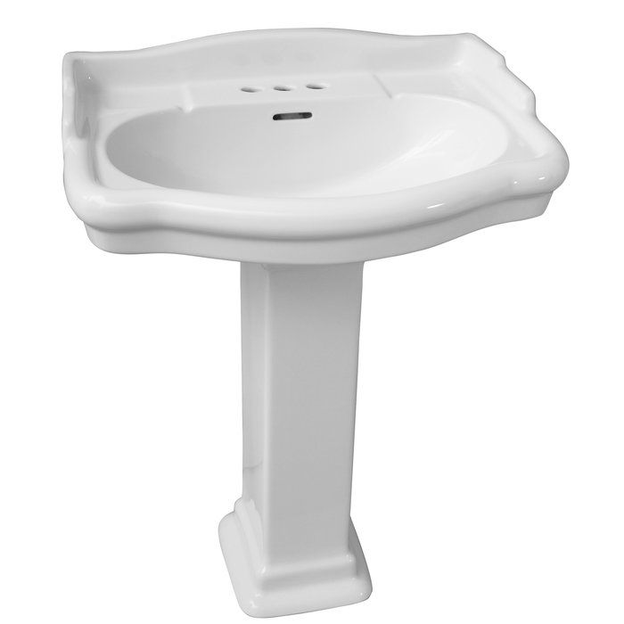 Stanford Vitreous China U Shaped Pedestal Bathroom Sink With