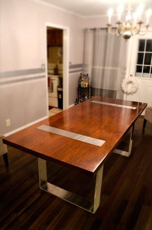 Solid Wood Dining Table With Stainless Steel Legs