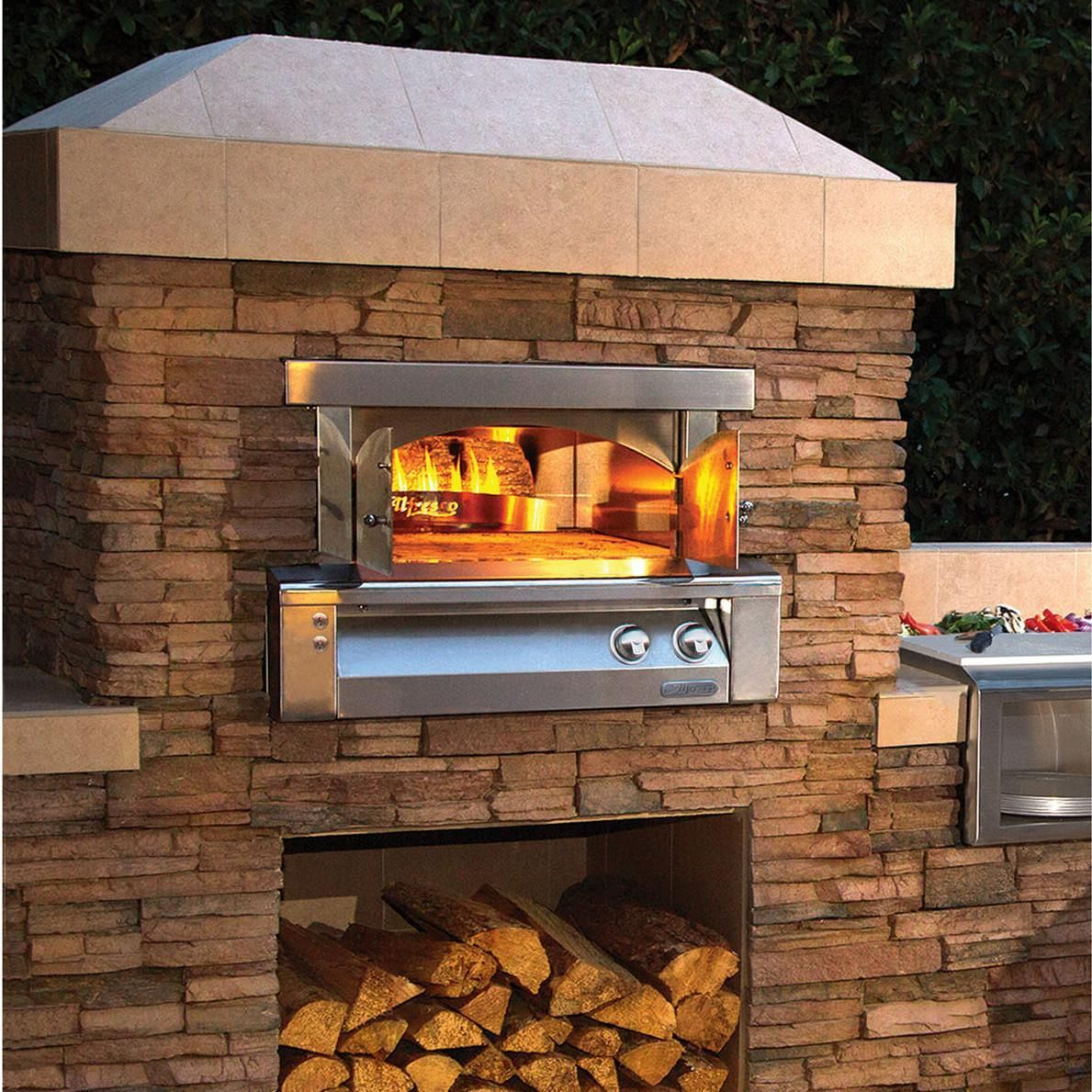"30 Outdoor Kitchens And Grilling Stations: Alfresco 30"" Built-In Propane Outdoor Pizza Oven Plus"