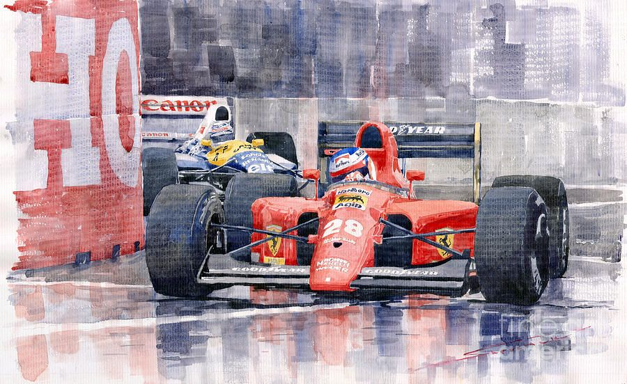 Yurly Shevchuk   WATERCOLOR    Ferrari F1 Jean Alesi Phoenix Us Gp Arizona 1991 Painting