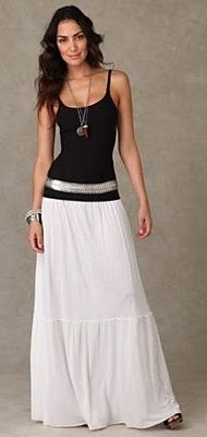 long white skirt with long tank, belt, long necklace... | Style ...