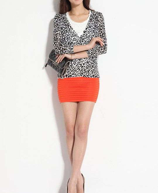 Seven Sleeves Cardigan with Leopard Print | Chicnova Knitwear ...