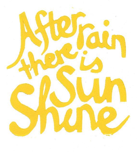 After Rain There Is Sunshine Yellow 8x10 Linocut Print Theme